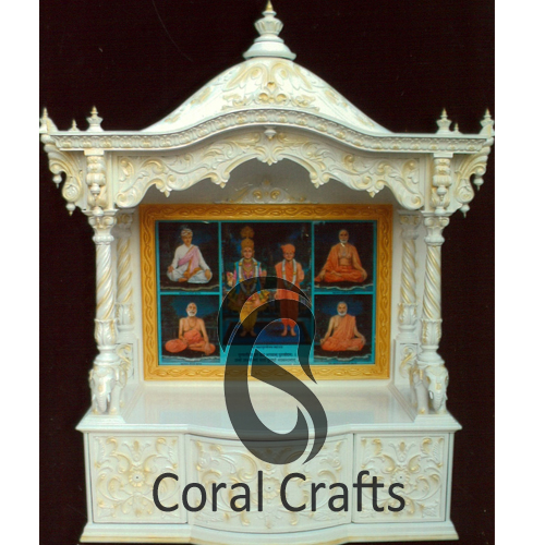 Exquisite Hand Carved Teak Wood Temple in White Finish