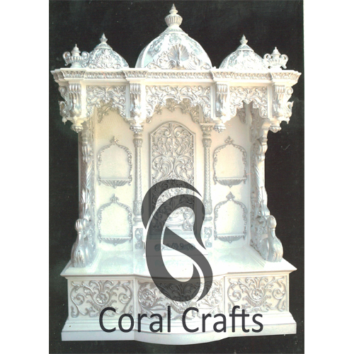Exquisite White Marble Finish Temple from Teak Wood